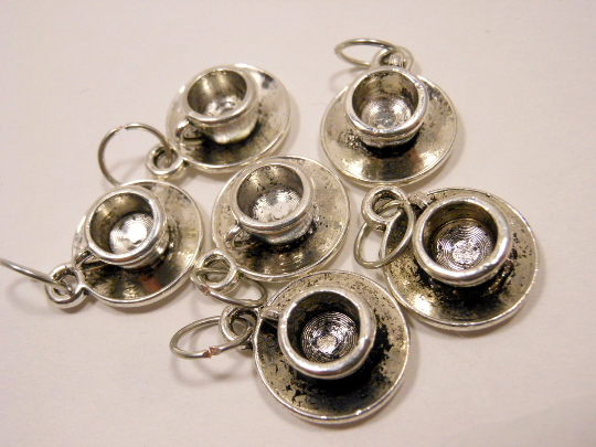 Handmade Silver Metal Stitch Markers ~ Clouds in my Coffee ~ Set of 6