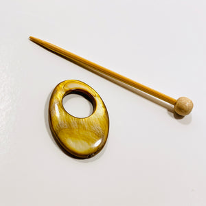 "Mother of Pearl Oval Shawl Pin ""Caramel Latte"""