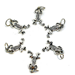 Handmade Silver Metal Stitch Markers ~ Frogs ~ Set of 6