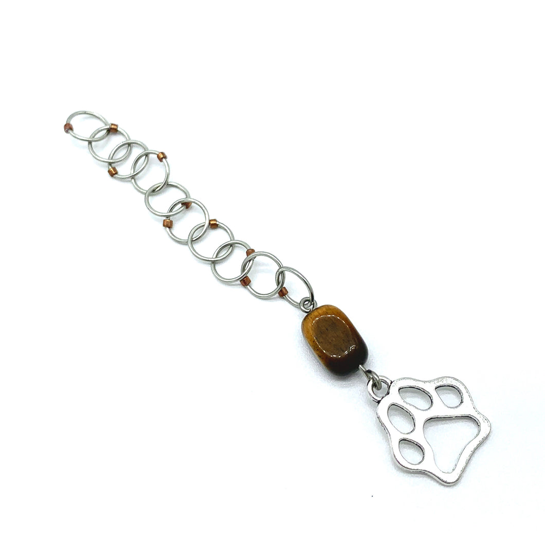 Snagless Beaded Chain Row Counter ~ Puppy Paws