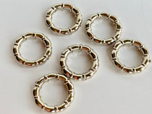 Silver Metal Stitch Markers ~ Banded Rings ~ Set of 6