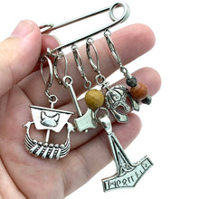 Handmade Silver Metal Stitch Marker Shawl Pin ~ Vikings ~ Set of 5