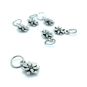 Handmade Silver Metal Stitch Markers ~ Crocus ~ Set of 6