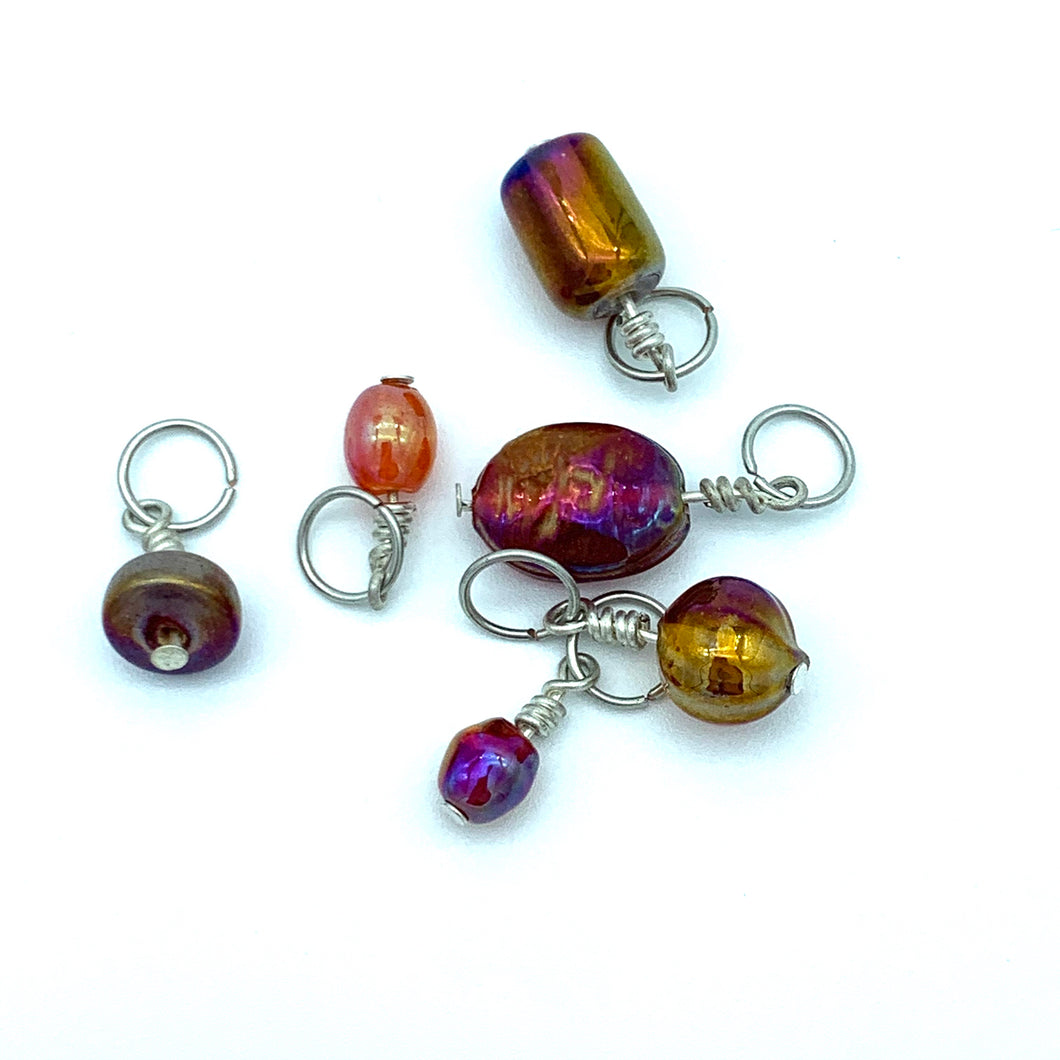 Handmade Indian Glass and Silver Stitch Markers ~ Red ~ Set of 6 ~ Iridescent Handmade Glass Beads