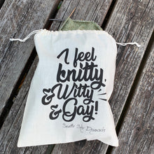 I feel Knitty & Witty & Gay Drawstring Project Bag