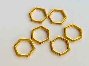 Gold Metal Stitch Markers ~ Honeycomb ~ Set of 6