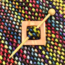 "Mother of Pearl Square Shawl Pin ""Arboretum"""