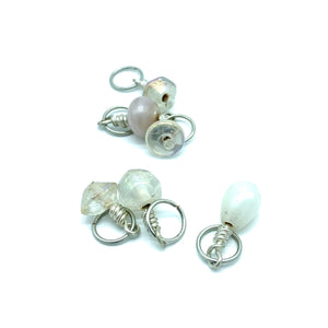 Handmade Indian Glass and Silver Stitch Markers ~ White