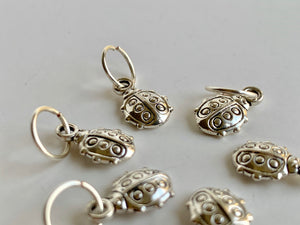 Handmade Silver Metal Stitch Markers ~ Ladybugs ~ Set of 6