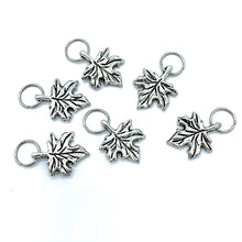 Handmade Silver Metal Stitch Markers ~ Maple Leaves ~ Set of 6