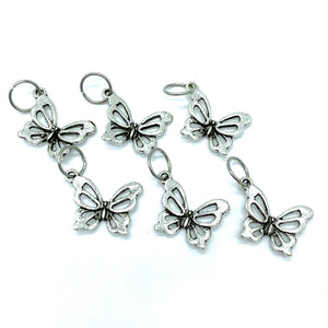 Handmade Silver Metal Stitch Markers ~ Blue Morpho Butterfly ~ Set of 6