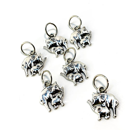Handmade Silver Metal Stitch Markers ~ Elephants ~ Set of 6