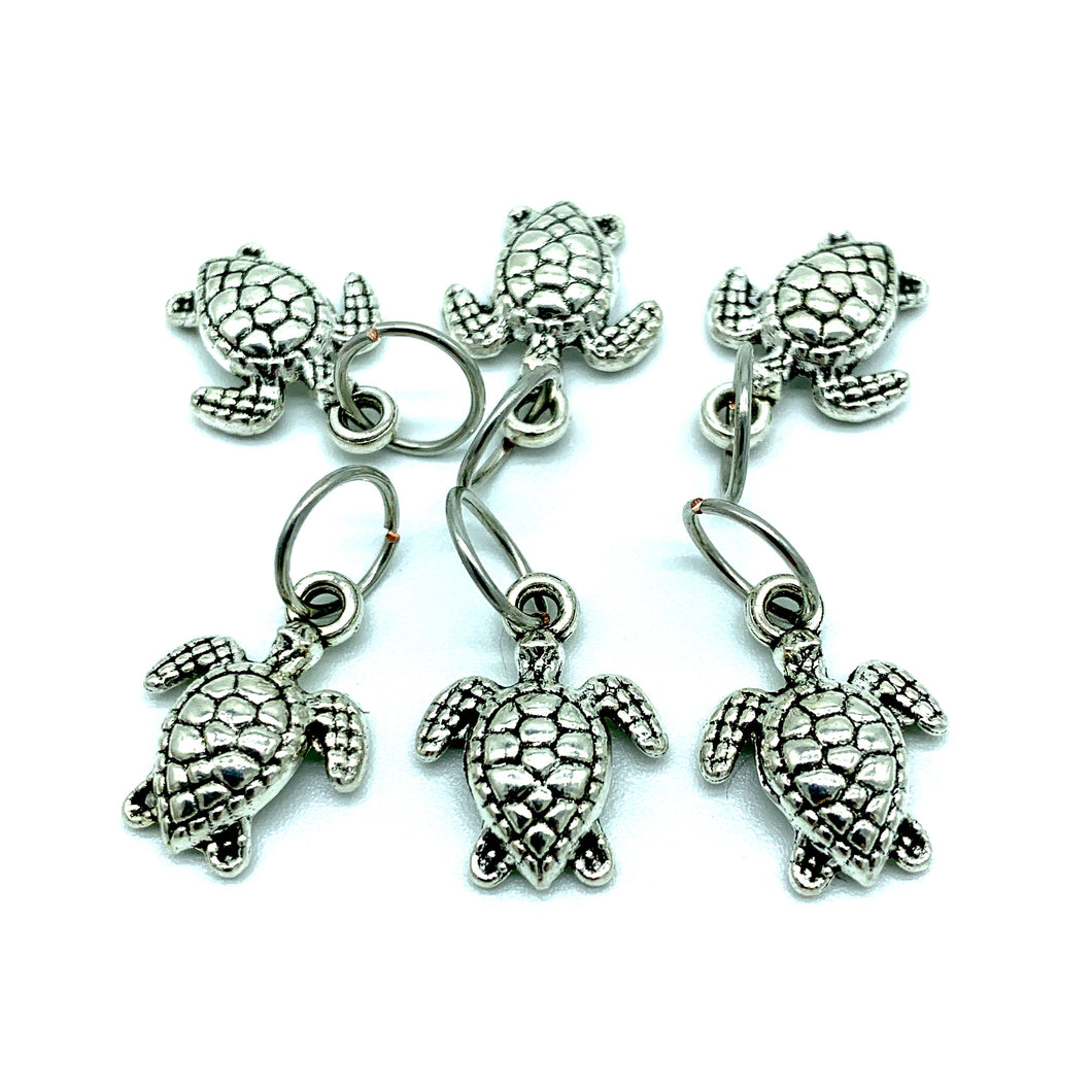 Handmade Silver Metal Stitch Markers ~ Sea Turtles ~ Set of 6