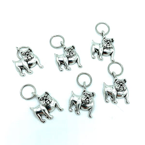 Handmade Silver Metal Stitch Markers ~ Bulldogs ~ Set of 6