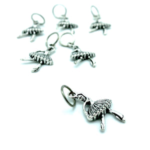Handmade Silver Metal Stitch Markers ~ Tiny Dancer ~ Set of 6