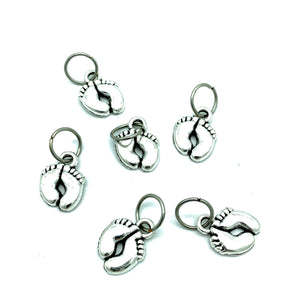 Handmade Silver Metal Stitch Markers ~ Footprints ~ Set of 6