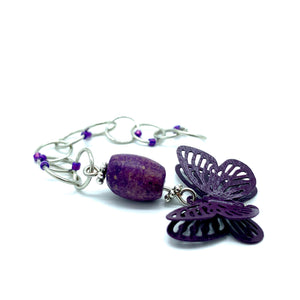 Snagless Beaded Chain Row Counter ~ Purple Butterfly