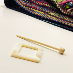"Mother of Pearl Square Shawl Pin ""Snoqualmie"""