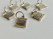 Handmade Silver Metal Stitch Markers ~ Silk Cord ~ Set of 6