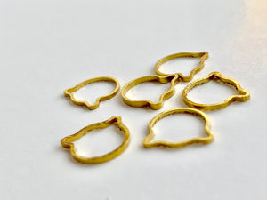 Gold Metal Stitch Markers ~ Golden Cats ~ Set of 6