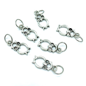 Handmade Silver Metal Stitch Markers ~ Hoot ~ Set of 6