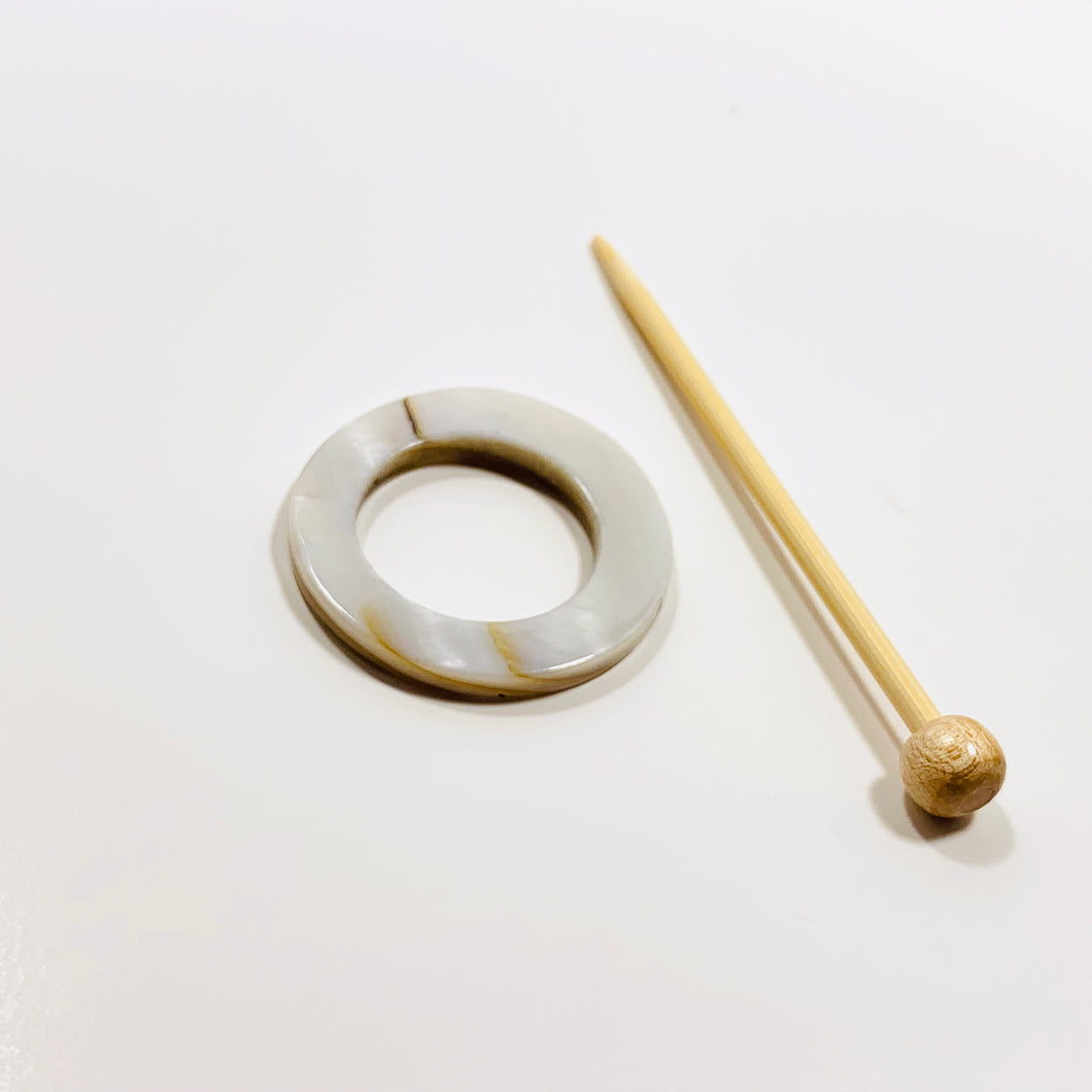Mother of Pearl Round Shawl Pin