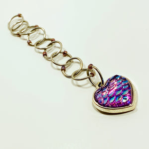 Snagless Beaded Chain Row Counter ~ Mermaid Heart Iris