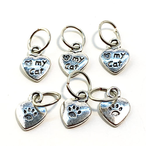 Handmade Silver Metal Stitch Markers ~ Love my Cat ~ Set of 6