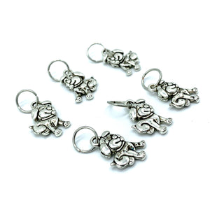 Handmade Silver Metal Stitch Markers ~ Puppies! ~ Set of 6