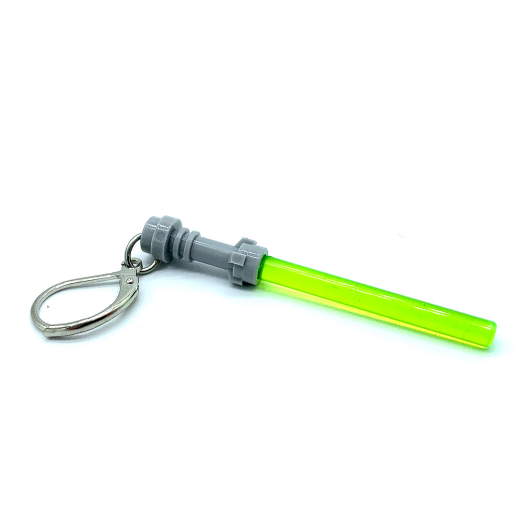 Handmade Single Metal Stitch Marker ~ Green Lego Lightsaber