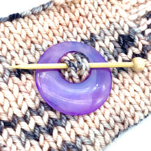 Natural Stone Agate Shawl Pin ~ Purple #6051