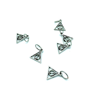 Handmade Silver Metal Stitch Markers ~ Deathly Hallows ~ Set of 6