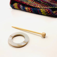 "Mother of Pearl Round Shawl Pin ""Pitichu"""