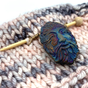 Handmade Ceramic Shawl Pin ~ Raku Green Man
