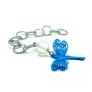 Snagless Beaded Chain Row Counter ~ Blue Dragonfly