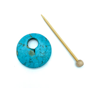 Natural Stone Shawl Pin ~ Howlite