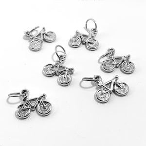 Handmade Silver Metal Stitch Markers ~ Bikes! ~ Set of 6