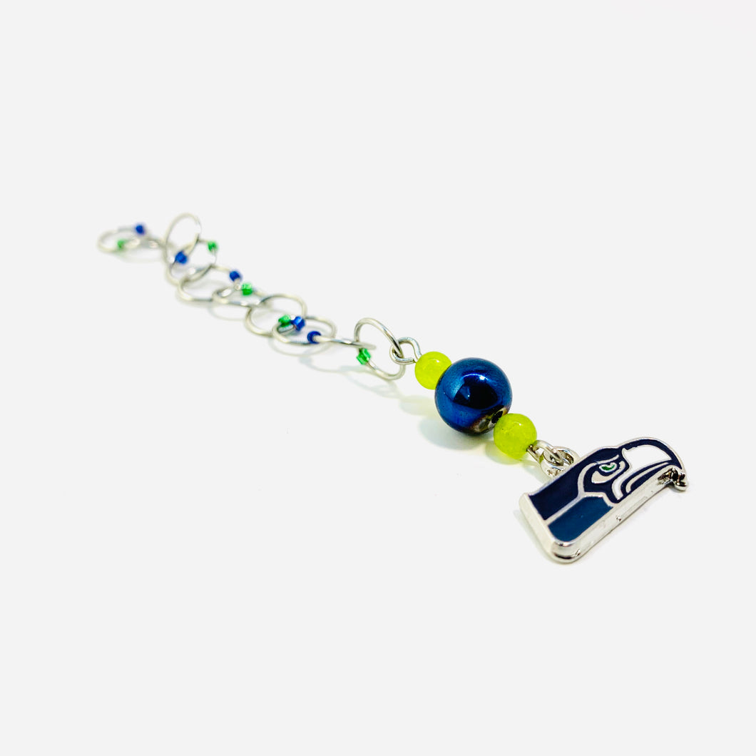 Handmade Snagless Beaded Chain Row Counter ~ Seahawks