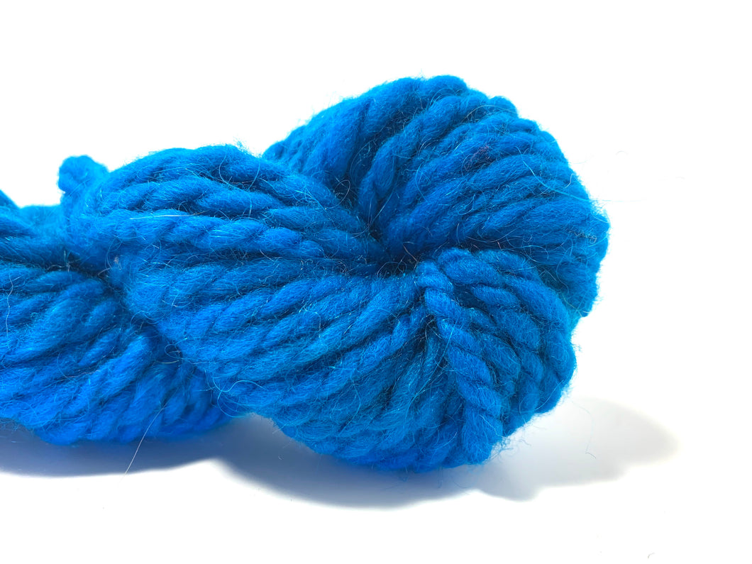 Handspun Wool  Yarn ~ Hand dyed Superbulky Blue