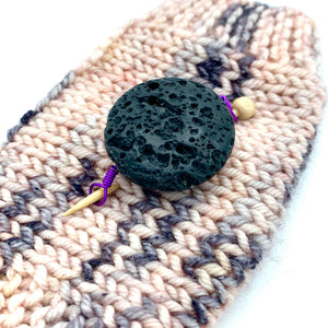 Handmade Natural Stone Shawl Pin ~ Lava Stone with Purple Wire