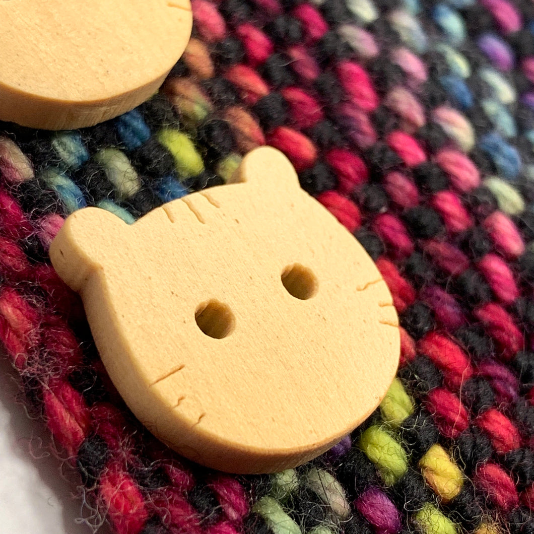 Natural Wooden Kitty Buttons ~ Set of 5