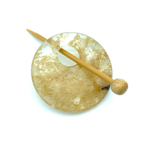 Natural Stone Shawl Pin ~ Cherry Quartz