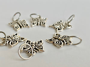 Handmade Silver Metal Stitch Markers ~ Butterflies ~ Set of 6