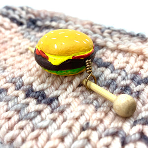 Hand Painted Ceramic Shawl Pin ~ Cheeseburger