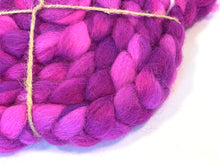 Hand Dyed Mohair X Wool Roving 4oz: Very Berry