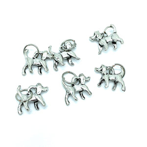 Handmade Silver Metal Stitch Markers ~ Hound Dog ~ Set of 6