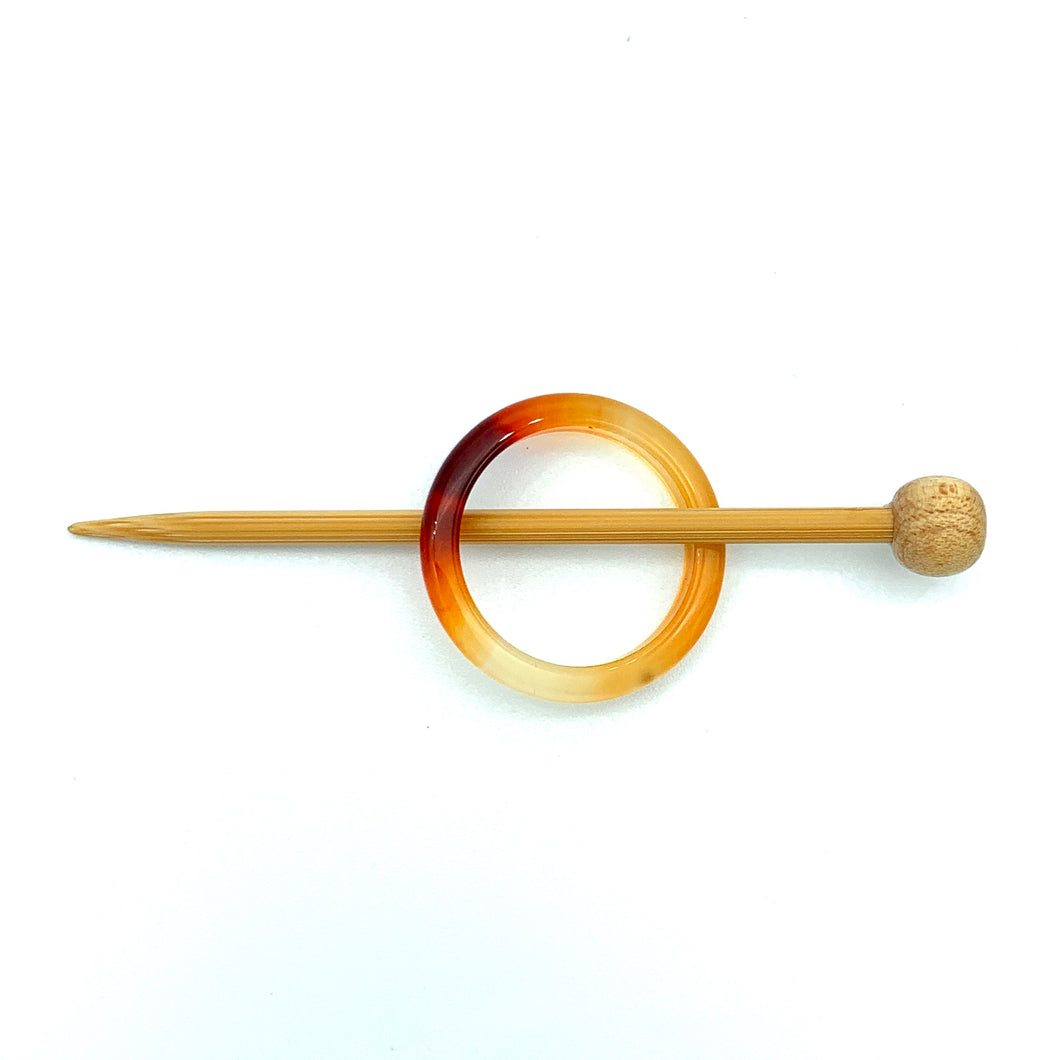 Natural Stone Shawl Pin ~ Orange Stone Ring R
