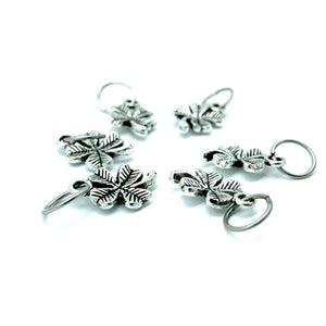 Handmade Silver Metal Stitch Markers ~ Lucky Clover ~ Set of 6