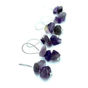 Handmade Natural Stone Stitch Markers ~ Amethyst Chips ~ Set of 6