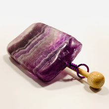 Handmade Natural Stone Shawl Pin ~ Wire Wrapped Stone ~ Purple Striped Rainbow Fluorite